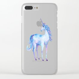 Watercolor Unicorn Clear iPhone Case