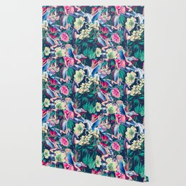 Unicorn and Floral Pattern Wallpaper