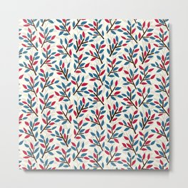 Organic pattern red and blue leaves. Metal Print