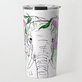Elephant, Flowers, Rose, Nature Travel Mug
