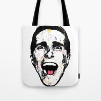american psycho Tote Bags featuring American Psycho by CultureCloth