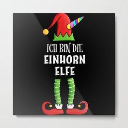 Einhorn Elfe Partnerlook Weihnachten Metal Print