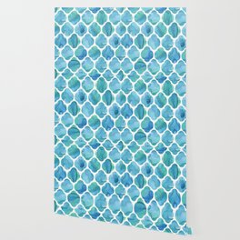 Watercolour Blue Moroccan Tile Print Wallpaper