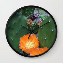 Orange Cacti Wall Clock