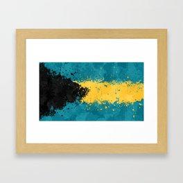 Bahamas Flag - Messy Action Painting Framed Art Print