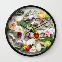 Colorful Boho Floral Layout Design Wall Clock