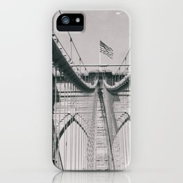 Brooklyn bridge, architecture, vintage photography, new york city, NYC, Manhattan view iPhone Case