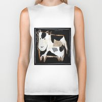 cow Biker Tanks featuring cow by woman