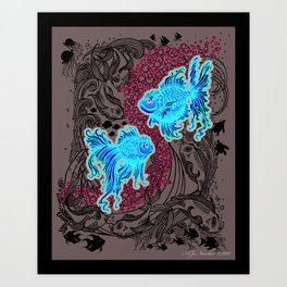 """Under the Sea"" (white graphics on silver background) Art Print"