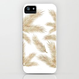 Rose Gold Glitter Marble Troipcal Leaves iPhone Case