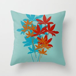 Fire Leaves Throw Pillow