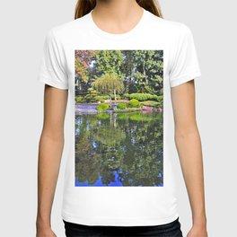 Desktop Wallpapers California USA Earl Burns Miller Japanese Garden Nature Bridges Pond Gardens Bush Trees bridge Shrubs T-shirt