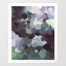 Dark Green Lilac Purple Gray Black Abstract Wall Art, Painting Art, Modern Wall Art Art Print