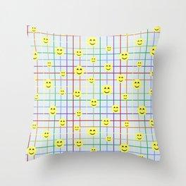 Colorful Smileys 2 - light blue Throw Pillow
