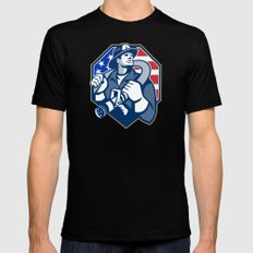 American Fireman Fire-fighter Fire Hose Retro X-LARGE Mens Fitted Tee Black