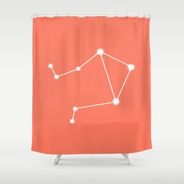 Libra Zodiac Constellation - Coral Red Shower Curtain