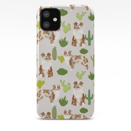 Australian Shepherd owners dog breed cute herding dogs aussie dogs animal pet portrait cactus iPhone Case
