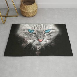 Silver Abstract Cat Face with blue Eyes Rug