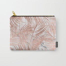 Tropical modern faux rose gold palm tree leaf white marble pattern Carry-All Pouch