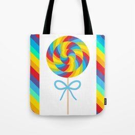 candy lollipop with bow, colorful spiral candy cane Tote Bag