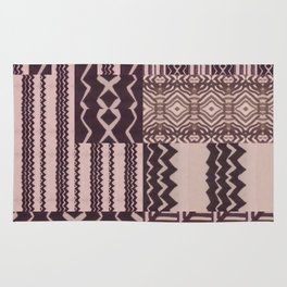 Patchwork Geometric Print in Black, Grey & White Rug