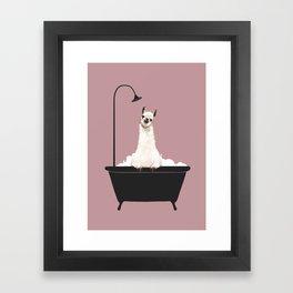 Llama in Bathtub Framed Art Print