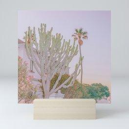 cactus & palm tree @ blue hour Mini Art Print