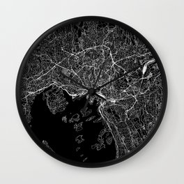 Oslo Black Map Wall Clock