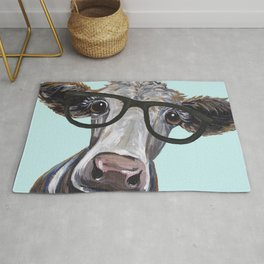 Cute Glasses Cow, Up close cow with glasses Rug