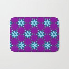 Star and Flower Pattern on Purple Bath Mat