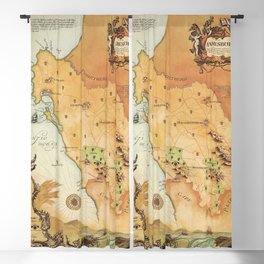 Vintage Map of Cape Town, South Africa Blackout Curtain