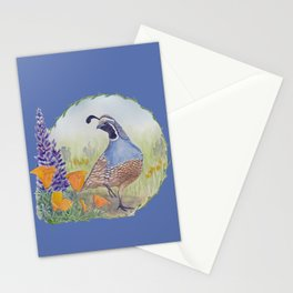California Quail with Poppies and Lupine on Blue Stationery Cards