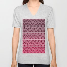 Triangles in triangles on red Unisex V-Neck
