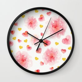 Watercolor flowers and hearts Wall Clock