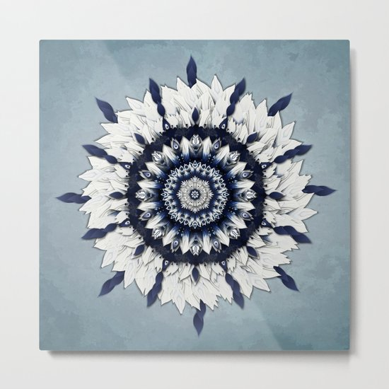 Blue Sash Mandala Metal Print