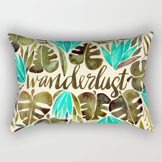 Tropical Wanderlust – Turquoise & Olive Rectangular Pillow