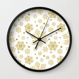 Golden snowflakes Wall Clock
