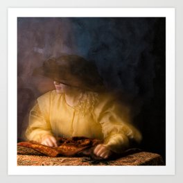 Girl in Rembrandt light Art Print