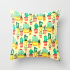 Hello! Colorful Watercolor Cactus and Succulent in Patterned Planters Throw Pillow