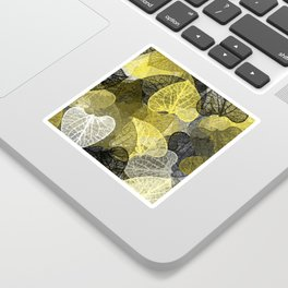 Black & Gold Leaf Abstract Sticker