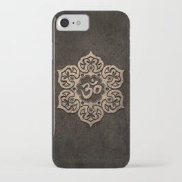 Aged Stone Lotus Flower Yoga Om iPhone Case
