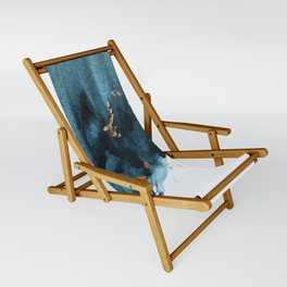 Sapphire and Gold Abstract Sling Chair