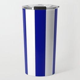 Cadmium blue - solid color - white vertical lines pattern Travel Mug