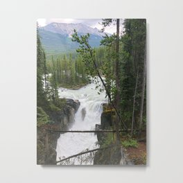 Misty Morning at Sunwapta Falls Metal Print