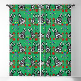 Bunnies Love Carrots Green Blackout Curtain