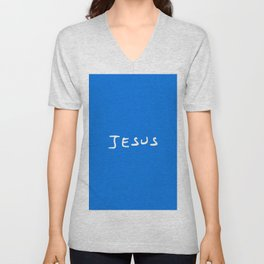 Jesus 2 blue Unisex V-Neck
