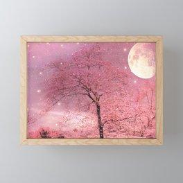 Surreal Fantasy Fairy Tale Pink Nature Trees Stars Full Moon Framed Mini Art Print