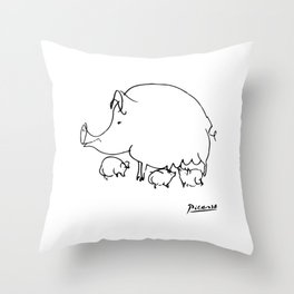 Pablo Picasso Pig Drawing, Lines Sketch, Animals Artowork, Men, Women, Kids, Tshirts, Posters, Print Throw Pillow