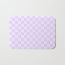 Large Chalky Pale Lilac Pastel Checkerboard Bath Mat