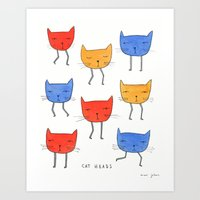 cat heads Art Print